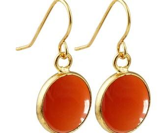 Round dangle earrings plated gold - carnelian