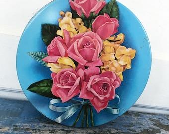 Vintage Candy Tin, Flower Tin, Floral Tin, Vintage Floral Tin, Vintage Blue Tin, Vintage Tin Container, Pink Rose Tin, Yellow Flower Tin