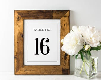 No. TN7 | Table Numbers | 1 - 20 | Black & White | Wedding, Party or Reception | PDF | PNG | DIY | Printable | Instant Download