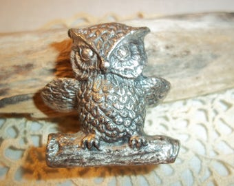 Woodsy The Owl  Pewter Figurine Resting on Log Vintage 1970's  Shop Owner's Collection Perfect for Owl Lover's Quality Gifting