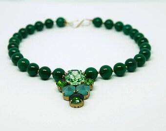 Natural Dark Green Agate necklace with Emerald Green Swarovski crystals