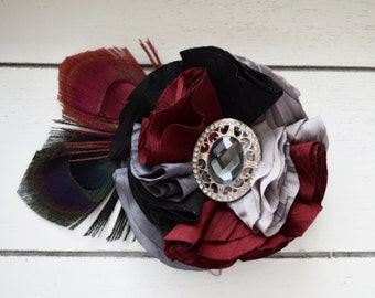 Handcrafted Burgundy Black Grey and Gold Peacock Feather Hair Clip - Peacock Wedding - Peacock Feather Bows - Adult Vintage Fascinator - Bow