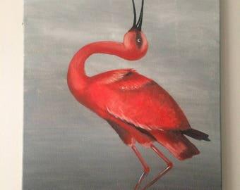 Bird Painting (scarlet ibis)
