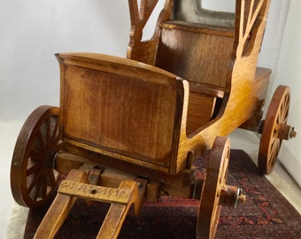 Vintage Handmade Wood Horse and Buggy/Carriage