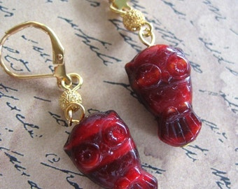 Maroon Owl Earrings - deep burgundy red Czech glass owl beads under a gold plated stardust moon on gold leverbacks -Free Shipping USA