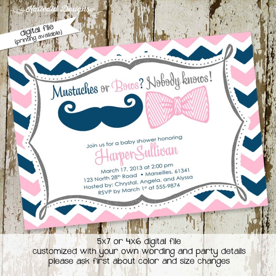 he or she gender reveal invitation mustache or bows surprise gender reveal pink or blue co-ed baby shower diaper wipe 1444 Katiedid Designs