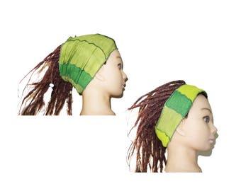 Green patchwork adult headband bohemian.