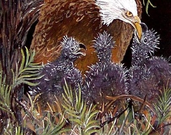 16 x 20  Inch Eagle Giclee Print   Mamma And Babies