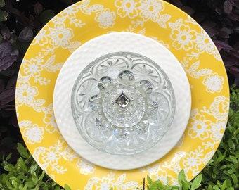 Garden Art Plate Flower, Yard Art, Outdoor Yard Decoration, Sun Catcher, Plate Flower