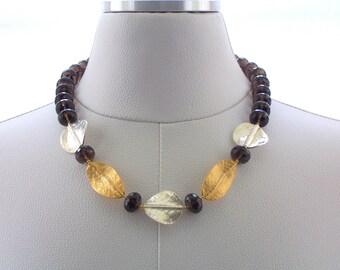 Smokey Quartz  Necklace, Gemstone Necklace, Silver Necklace, Gold Jewelry, Fashion Necklace, Jewellery, Beaded Jewelry