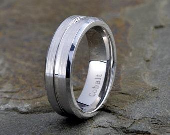 Men's Cobalt Wedding Band Cobalt Wedding Ring Silver Gray Cobalt Anniversary Ring Engagement Band Brushed Polish Handmade
