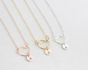 Loveknot Initial Necklace, Disc Necklace, Rose Gold, Gold or Silver, Hand Stamped on Disc, Personalised Jewellery,