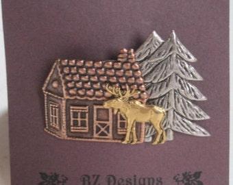 Place du Nord cabine avec élan et arbre Pin - un BZ conçoit Original - Northwoods - Nature