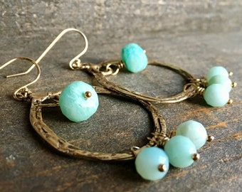 Amazonite Gold Hoop Earrings, Gemstone Jewelry, Handmade in Alaska, Gift for Her, Gift for Mom, Gift for Wife