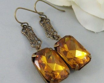 November,Vintage Earrings,Topaz Earrings,Brass Earrings,Rhinestone,Topaz,Earrings,Rhinestone. Handmade Jewelry by valleygirldesigns.