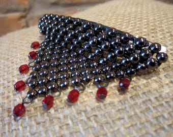 Vintage Hair Clip • 80s Barrette • Beaded Hair Clip • Black Beads Ruby Beads Jewelry • Metal Hair Clasp • Triangle Hair Pin Beaded Tassels