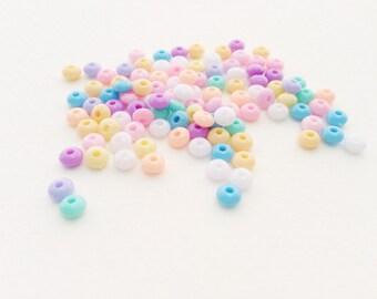 50 pcs Tiny Donuts mix colors plastic pastel beads (5mm)