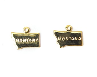 Engraved Tiny GOLD Plated on Raw Brass Montana State Charms (2X) (A425-C)