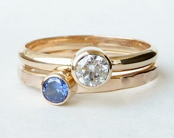 Mothers Ring 14k Gold - 2 Stacking Bands w/ Faceted Gemstones - Family Ring - Stackable Rings - Gemstone Rings -14k Gold