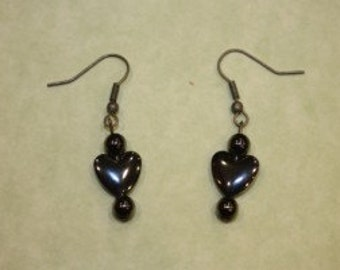 Handmade Hematite Hearts Earrings  SALE