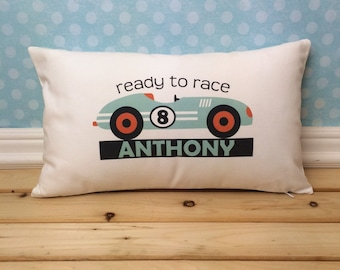 Race Car Pillow, Race Car Decor, Race Car Nursery, Race Car Bedding, Nursery Decorations, Race Car Theme, Boys Bedroom Decor,  Derby Car