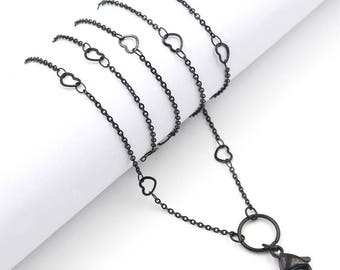 Black Heart Custom Link Chain Surgical Stainless Steel Necklace