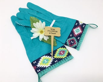 Gardening Gift for Women. Turquoise Southwestern Tribal Garden Work Gloves.  Housewarming Present Under 30 For Her.