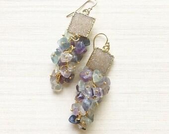 Tan Square Druzy & Fluorite Beaded Chandelier Earrings // Druzy Earrings // Gold Earrings // Fluorite Earrings // Dangle Earrings