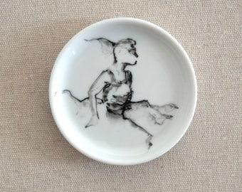 Coaster- Modern art, female art, black white, art, female painting, gift, for her, small dish, original art, original painting, minimal art