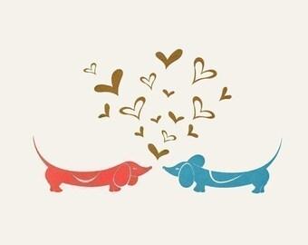 Doxie Duet - Mini Dachshund Print Gocco by Kerry Beary - 5x7 print - LOVE Art Print Dog Art Doxie Dog Wall Art Original Puppy Gift Idea Dogs