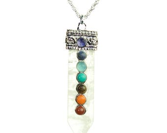 Chakra Silver Clear Quartz Spear Necklace