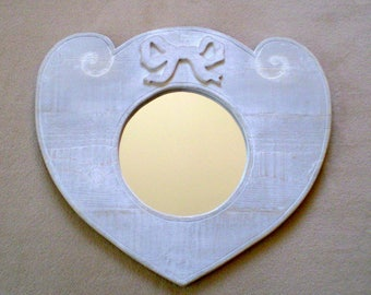 Adorned with a Ribbon and engraved scrollwork - unique wooden heart mirror
