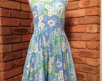 Vintage inspired 1970s blue floral sundress or tea dress READY TO SHIP Size 12-14 Aud