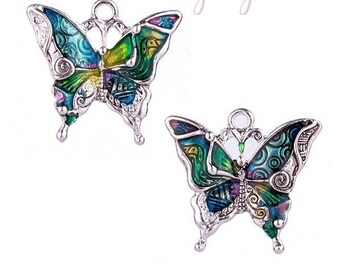 Butterfly charm 1 silver and colorful 25 x 32mm