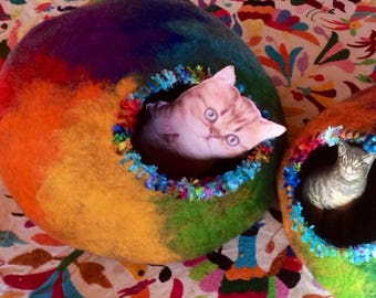 Rainbow Cat Cave Felted Pet Bed Custom Cocoon & Rescue Donation