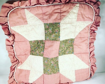 Vintage Handmade Pink Brown Quilted Pillow Sham