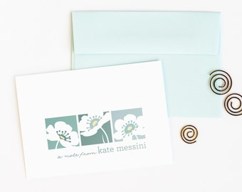 Personalized Floral Stationery, Set of 12 Personalized Note Cards // FLORAL TRIO