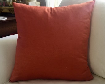 Solid textured fabric/paprika 18x18 inch/throw pillow/red pillow cover/sofa pillow/accent pillow cover