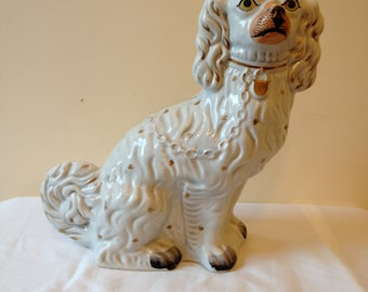 Large 19th Century Staffordshire Spaniel Mantle Dog (Wally Dog)