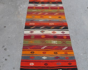 "Colorful Kilim runner, 140"" x 30"", Vintage Turkish kilim runner rug, runner rug, bohemian runner rug, Turkish rug, rug, boho runner rug,"