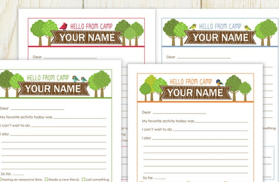 Summer Camp Stationery   Digital/ You Personalize   Fill In Note