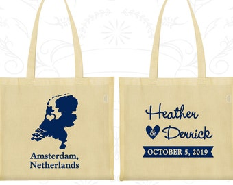 Netherlands Tote Bags, Netherlands Wedding, Promotional Cotton Canvas Tote, Destination Wedding Bag, Wedding Tote, Amsterdam Tote Bags (197)