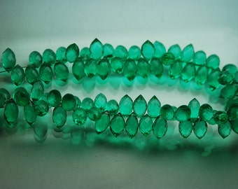 4 Inch Strand, Green Emerald Quartz Faceted Dew Drops Shape Briolettes, Size 10-12 mm