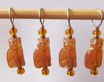 Carnelian Cat Stitch Markers--Set of Six