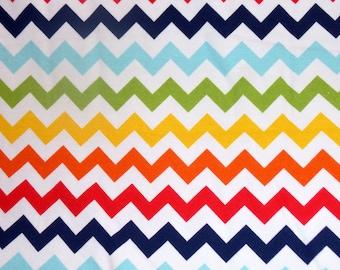Riley Blake Designs Primary Rainbow Chevron Cotton Spandex Knit Fabric -  K340-01 Small Chevron Stretchy Knit - Kids Cotton Lycra Fabric