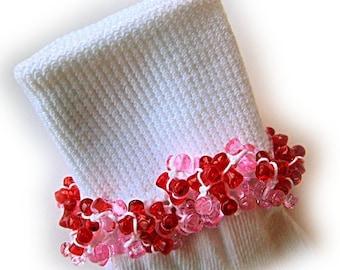 Kathy's Beaded Socks - Red and Pink socks, girls socks, white socks, red socks, pink socks, tri bead  socks, Valentine socks