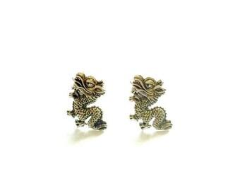Chinese Dragon Stud Earrings antique silver dragon post earrings Handmade Gift