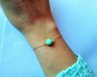 Mint bracelet, tiny jewelry, mint jewelry, light green bracelet , dainty gold bracelet , minimalist bracelet, dainty bracelet, cute jewelry