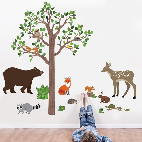 woodland mural tree wall decal animal wall decal forest mural. Black Bedroom Furniture Sets. Home Design Ideas