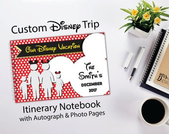 Disney Vacation Itinerary Notebook  - Disney World or Disneyland Trip Planner - Mickey Mouse - Family - Holiday - Autograph Book - Photos